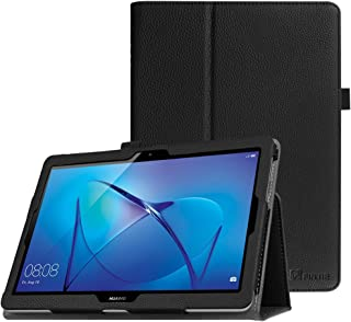 Fintie Folio Funda para Huawei MediaPad T3 10 - Carcasa de Cuero Sintético Soporte de Stylus para Huawei Mediapad T3 10 Tablet 9.6 Pulgadas IPS HD, Negro