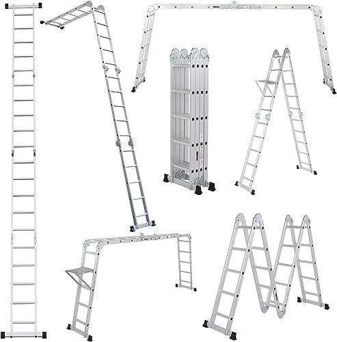 high quality LUISLADDERS 18.5FT Folding Ladder Multi-Purpose online Aluminium Extension 7 in 2021 1 Step Heavy Duty Combination EN 131 Standard online
