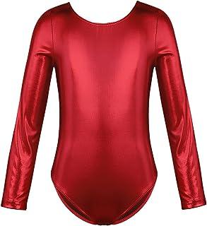 bfca43d72fc53 TiaoBug Enfant Fille Justaucorps de Danse Ballet Gym Costume de Danse Body  Cuir Verni Combinaison à