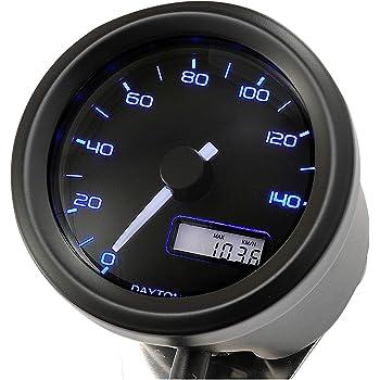 デイトナ バイク用 電気式スピードメーター 140㎞/h ブラックφ48(非接触センサー無し) VELONA 3色LED 91682