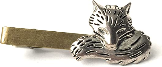 25th Anniversary Gifts for Men Fox Tie Clip By Arcanum By Aerrowae - Antique Gold Tie Bars for Groomsmen Customize Colors Silver Tie Clips Copper Tie Clips