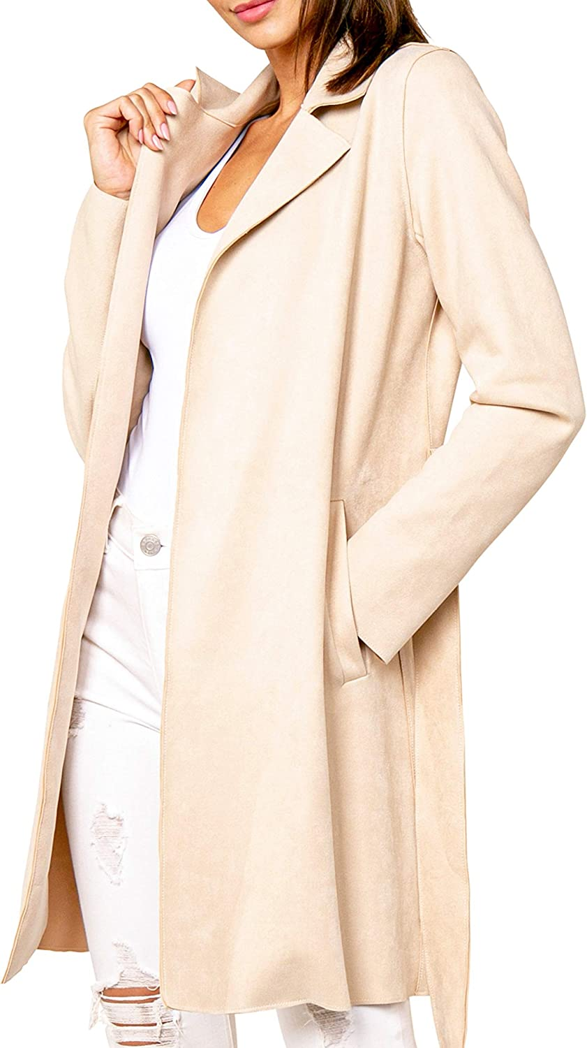 Love Token Womens Everson Twill Suede LiteTrench Coat