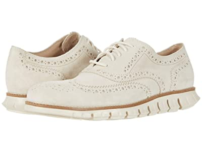 Cole Haan Zerogrand Wing Tip Oxford (Ivory Suede/Ivory) Men