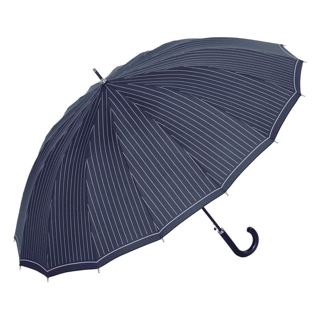 幸運分泌するカブ傘と日傘専門店リーベン(Lieben) 長傘 ネイビー 65cm×8本骨 16本骨ジャンプ傘 65cm ストライプ LIEBEN-0191-n