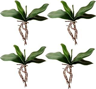 Yokoke 4 Pcs Artificial Green Phalaenopsis Simulation Moth Orchid Leaf Real Latex Touch Green Plant 5 Petals for Flowers Garden Bonsai Decor 10