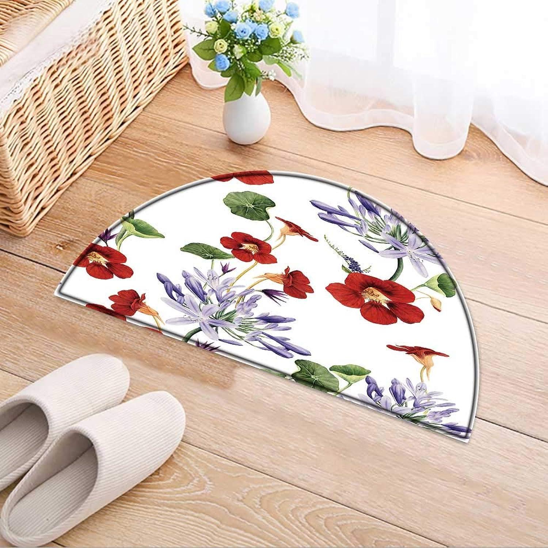 Semicircle Area Rug Carpet with Flowers Door mat Indoors Bathroom Mats Non Slip W59 x H35 INCH
