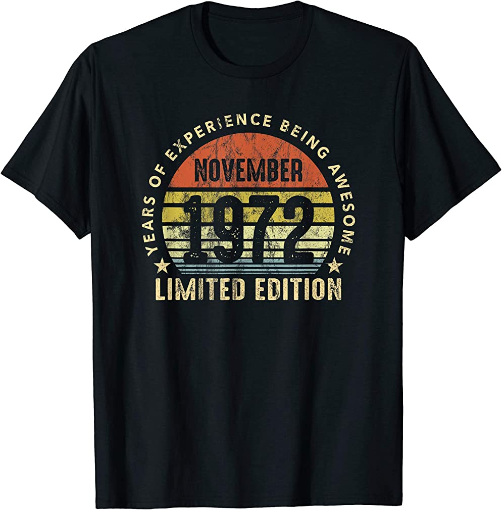 Born In November 1972 Sunset Limited Edition 48th Birthday T-shirt