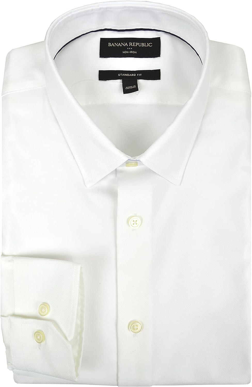 Banana Republic Mens 745271 Standard Fit All Cotton Non Iron Button Down Oxford Shirt