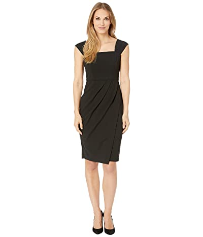 Vince Camuto Scuba Crepe Bodycon Dress with Tucks at Sleeve and Waist (Black) Women