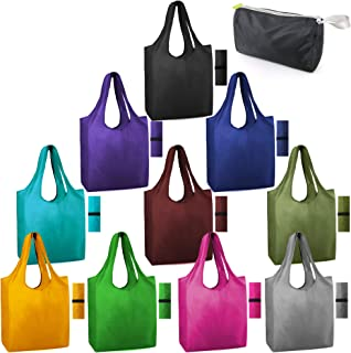 Reusable-Shopping-Bags-Grocery-Foldable 10 Packs With Elastic Fabric Zipper Bags Washable Large 50LBS Tote Bags Bulk Gift Bags