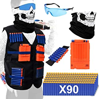 Tactical Vest Kits Compatible with Nerf Guns, 1 Pack N-Strike Elite Tactical Vest Jacket with 1 Wrist Band, 1 Quick Reload Clips, 1 Protective Glasses, 1 Face Mask and 90 Bullets for Kids Fun