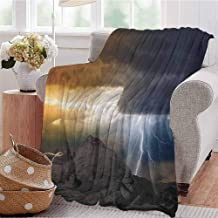 Luoiaax Nature Commercial Grade Printed Blanket Thunder Rays from Dark Clouds Hitting Down to The Mountain Storm Theme Art Print Queen King W60 x L50 Inch Grey Orange