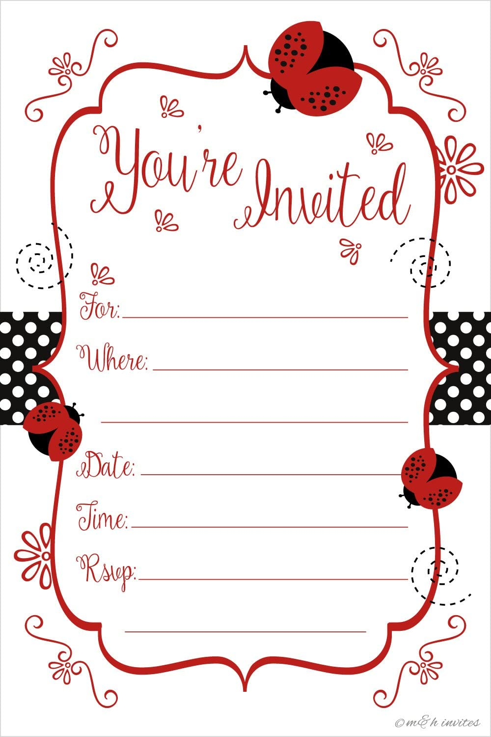 Ladybug Party Invitations - Birthday, Baby Shower, Any Occasion - Fill In Style (20 Count) With Envelopes