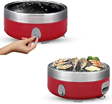 Freshore Portable Smokeless Charcoal BBQ Grill - Outdoor Camping Small Tabletop Cooking Mini Barbecue - Built in Fan Power by