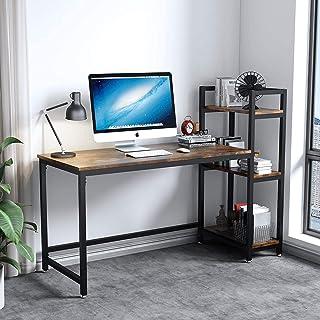 Dripex Mesa Escritorio Ordenador con Estantes Reversibles,Escritorio de Esquina, Mesa Estudio PC 126x60x108cm,Moderno Indu...