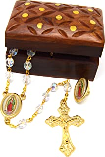 Catholic Rosary Clear Faceted Glass Beads Aurora Borealis Finish with Our Lady of Guadalupe from Italy with Wooden Hand Carved Jewelry Box