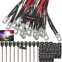 Ltvystore 70 قطعة 3 مم 12 فولت 7 ألوان سريعة Fash LED سلكية مسبقًا لمبة إضاءة 7.8 بوصة مزودة بسلك ديود انبعاث ضوئي أسود 3 ...