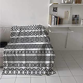 Irish Digital Printing Blanket Vintage Borders in The Form of Celtic Classical Ornaments Horizontal Striped Pattern Summer Quilt Comforter 62x60 Inch Black White