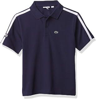 Boys Short Sleeve Striped Badge Polo Shirt
