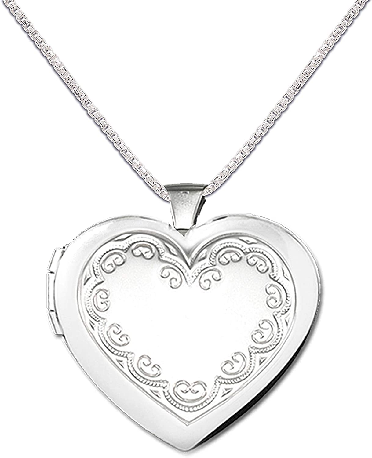 Girl's Phoenix Max 82% OFF Mall or Women's Sterling Silver Nec Heart Locket Embellished