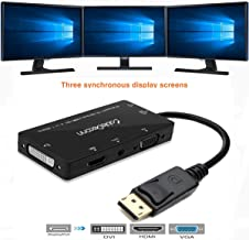 CABLEDECONN 4-in-1 Multi-Function Displayport to Hdmi/Dvi/Vga Adapter Cable with Micro USB Audio Output Male to Female Converter Supports 3 Monitors at The Same Time
