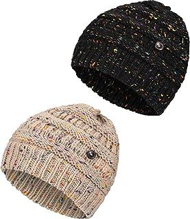 Gorro de Punto de Confeti con Botón Gorra de Punto Gorro Grueso Suave de Unisex (Negro, Beige, 2)
