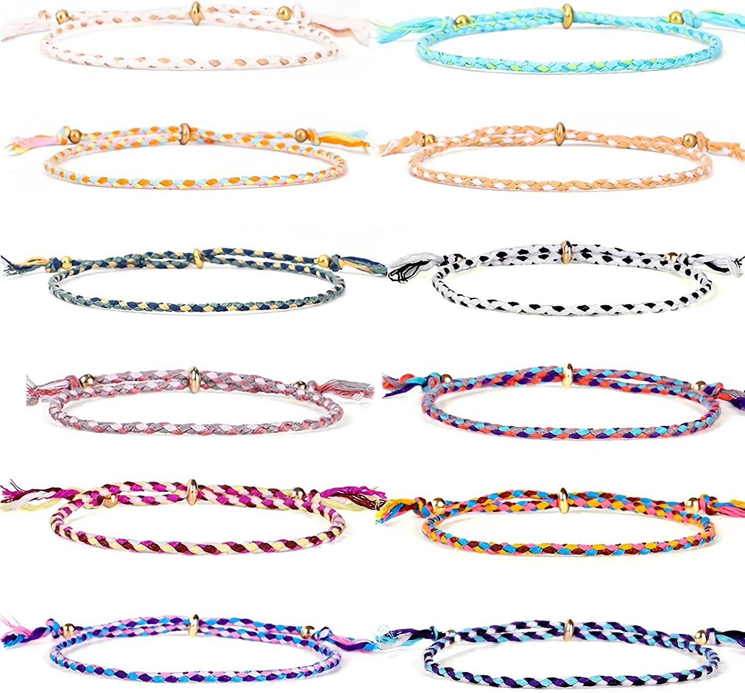 12Pcs Handmade Wrap Friendship Selling and selling Max 65% OFF Braided for Bracelet G Teen Women