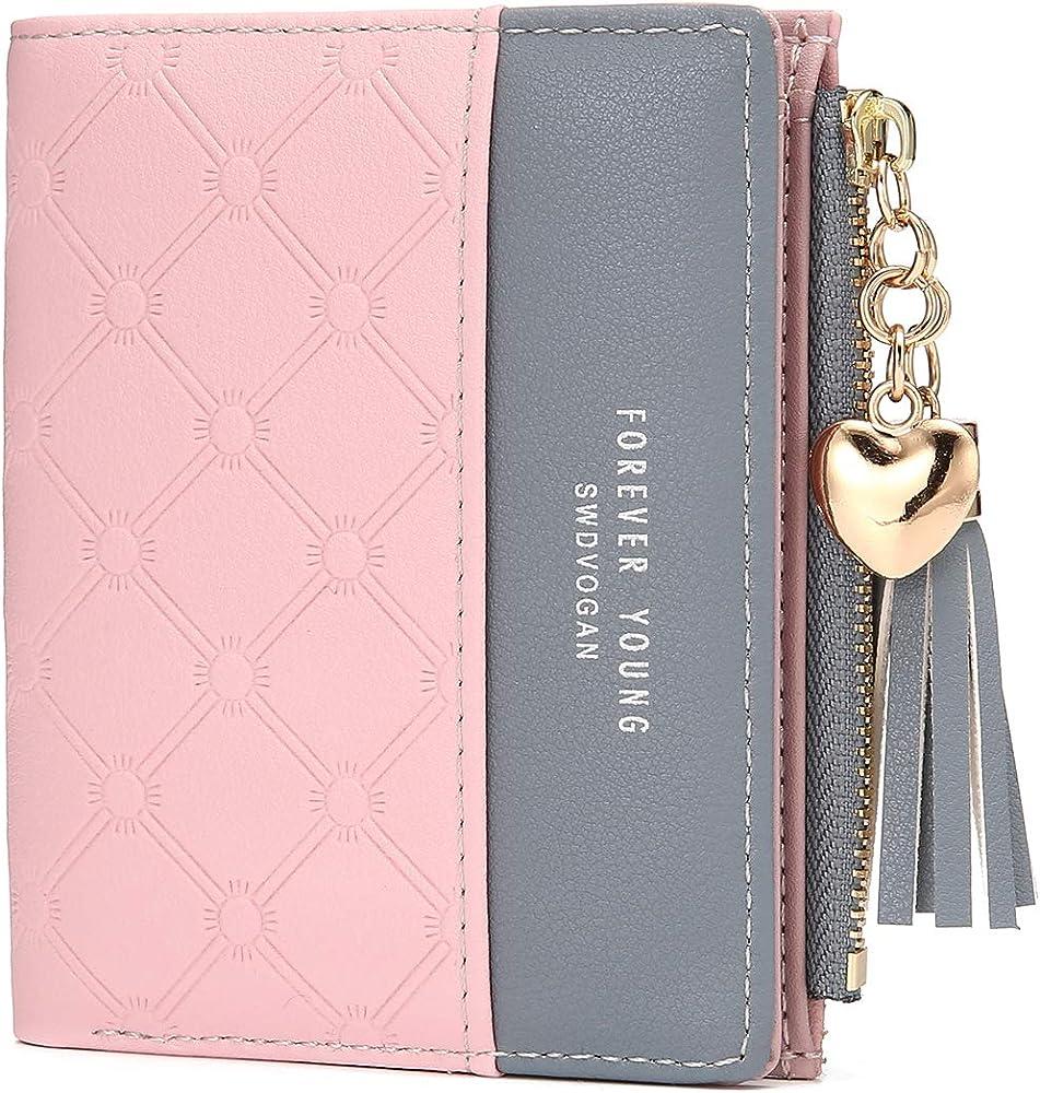 Joseko portafogli da donna porta carte di credito in pelle sintetica e tessuto di cotone di lino con stampa JOSEKOPumoDE46