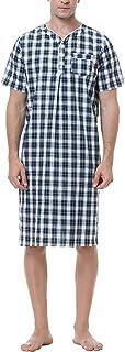 Sykooria Men's Cotton Nightshirts Casual Soft Pajama Top Plaid Nightwear Loose Fit Raglan Sleeve Henley Shirt Button Down ...