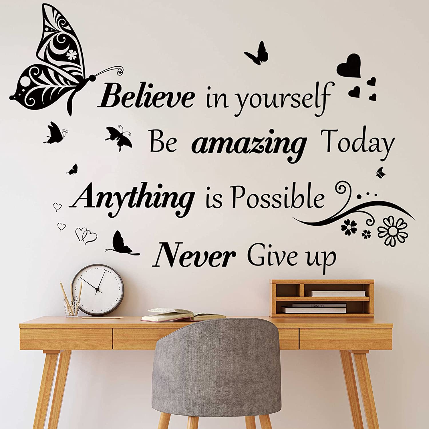 Inspirational Quotes Wall Decals Large Removable Motivational Saying Wall Stickers Positive Lettering Word Decal Butterfly Sticker Peel and Stick for Classroom Home Bedroom Family Office Wall Art Decor