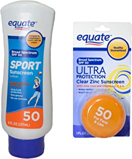 Equate Sport Lotion and Equate Ultra Spectrum Clear Zinc Sunscreen For Face & Lips, SPF 50