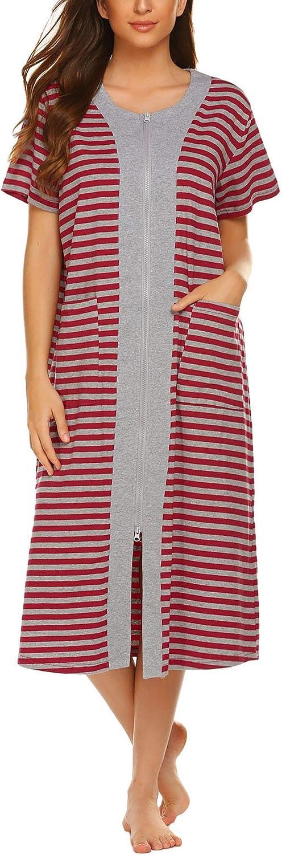 Ekouaer Zipper Front Housecoat Max 61% OFF Short Zip Half Elegant Ni Sleeve