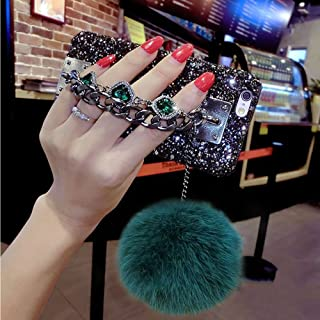 For iPhone 7 Plus Case,For iPhone 8 Plus Case,BabeMall Luxury Stylish DIY Handmade Bling Diamond Fur Plush Ball Strap Chain Case (Dark Green)