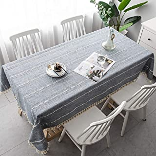 LovePads Round Tablecloth, Round Table Cloth, Cotton Linen Tablecloths, Dust-Proof, Table Cover for Kitchen Dinning Room P...