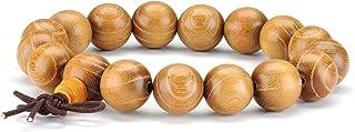 12 MM Pulsera de abalorios de madera natural Meditación budista tibetana Mala Prayer Beads Hombres Pulsera elastic