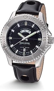 Mission Impossible Tactical Watch H3 Reloj Auto Luminoso Acero Negro con Correa De Cuero Negro