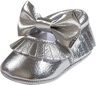 Toddler Baby Soft Sole PU Leather Bowknot Non-Slip Shoes Tassel Crib Shoes Moccasins