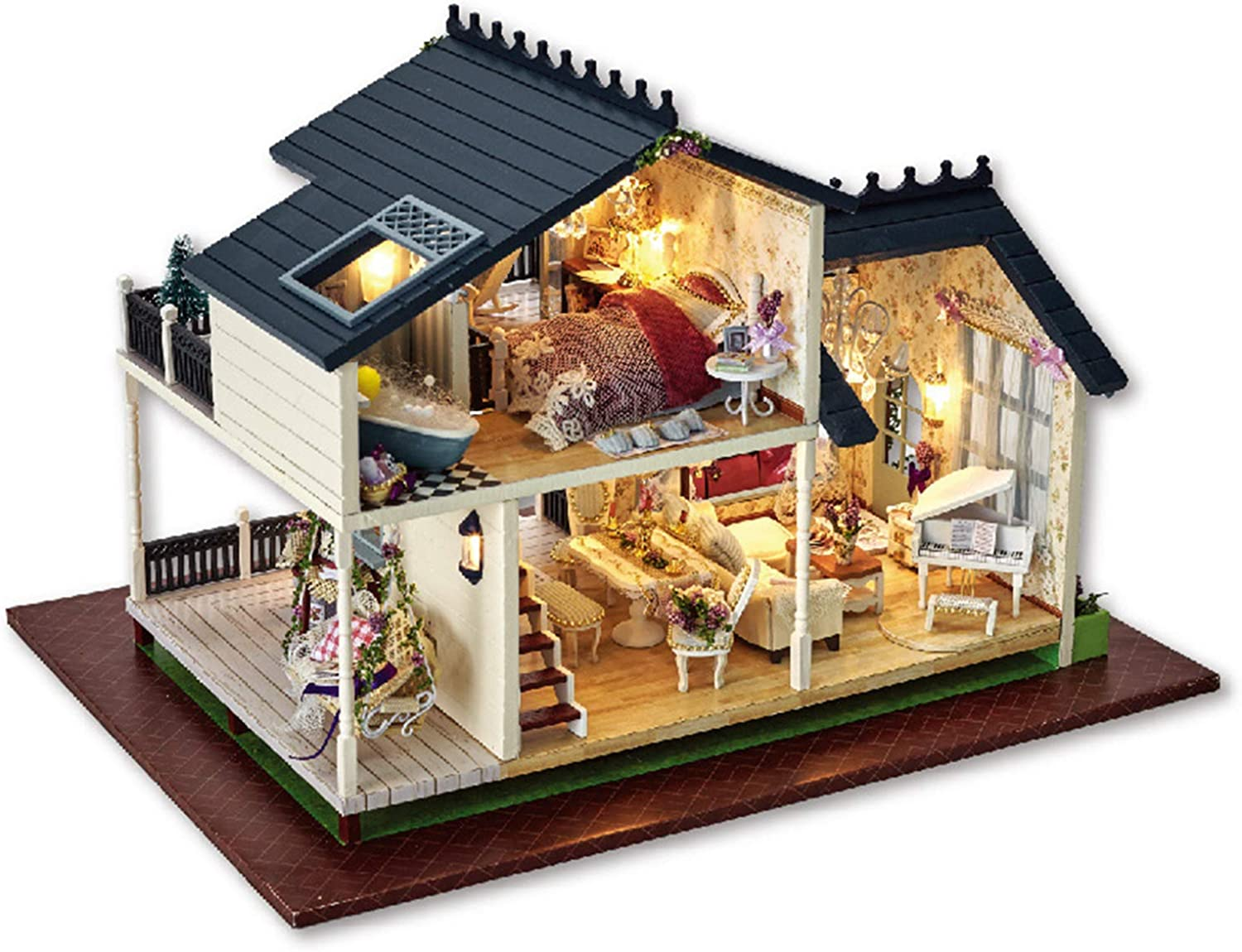 XCXDX DIY Wooden Assembled Toys, Twostory Cottage Doll House, Music Box With Led
