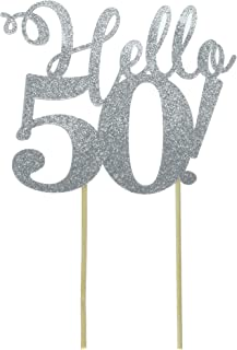 All About Details Silver Hello 50! Cake Topper