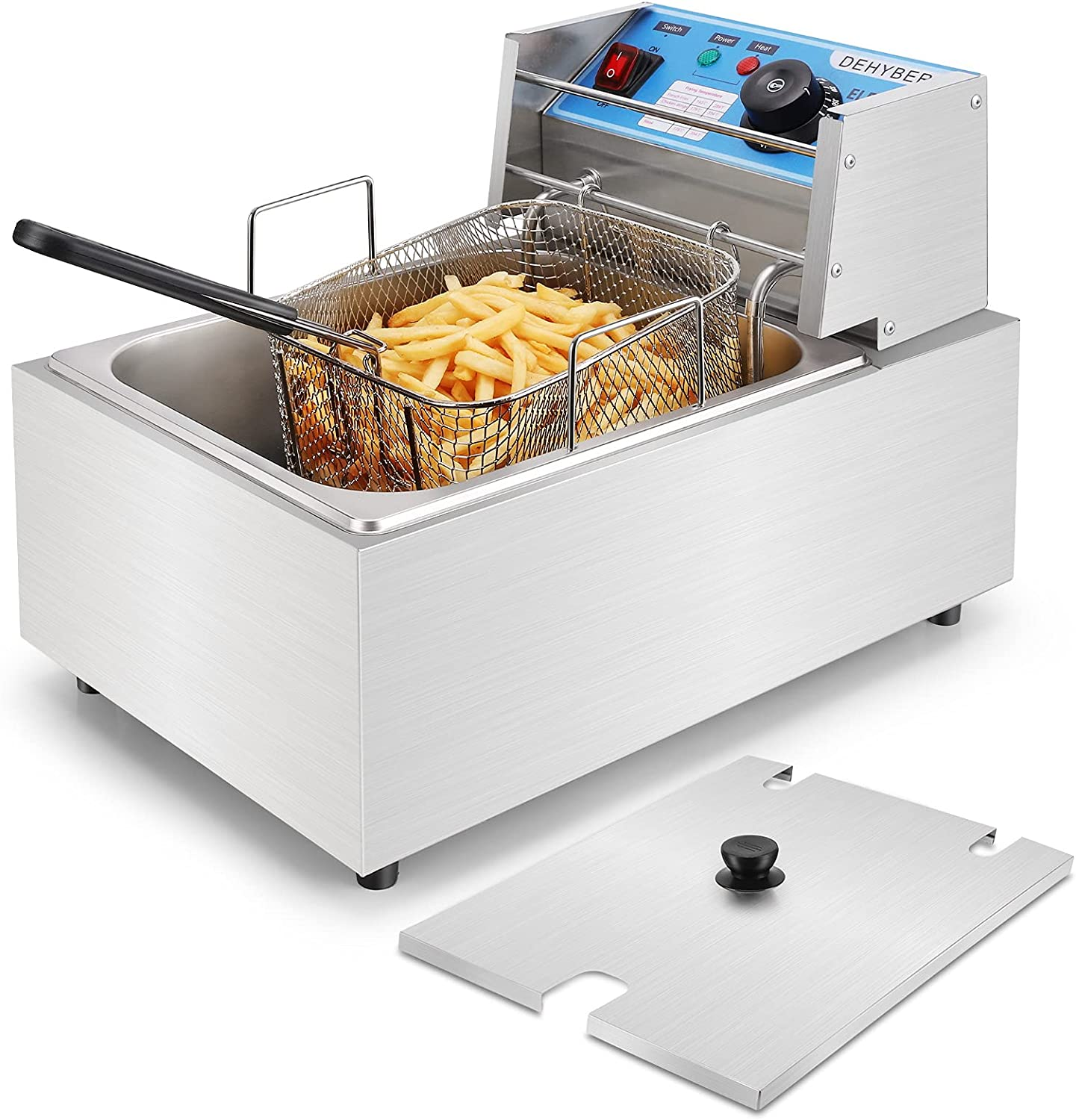 Dehyber 10.6QT/10L Deep Fryer with Basket,1800W Countertop Electric Deep Fryers with Removable Baskets,Handle and Temperature Limiter for Commercial and Home Use