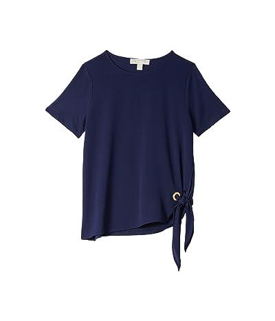 MICHAEL Michael Kors Woven Mix Tie Short Sleeve Tee (True Navy) Women