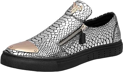 Herren Loafers Casual Fahr Schuhe Mode Faule Schuhe (Farbe   Silber, Größe   41EU)