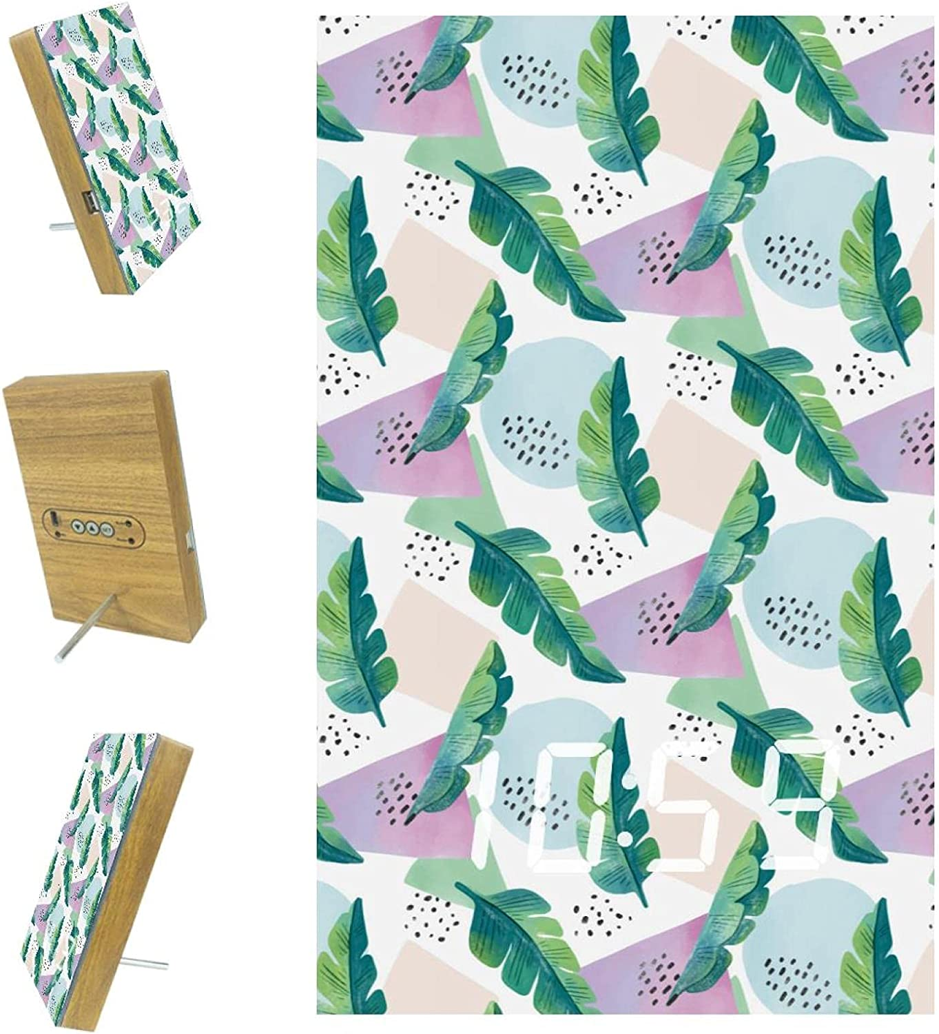 100% quality warranty! Tropical Pattern with Leaves Shapes Clock Desk Digital LED 5% OFF Table