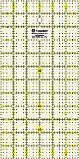 Régua para Patchwork, Escalas em pol., em Acrílico 3 mm, 30, 6 x 15, 5 cm PT.12X6POL – Trident, Trident, PT.12X6POL, Cristal
