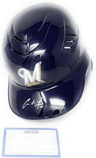Christian Yelich Milwaukee Brewers Signed Autograph Full Size Cool Flo Authentic Helmet Steiner Sports Certified