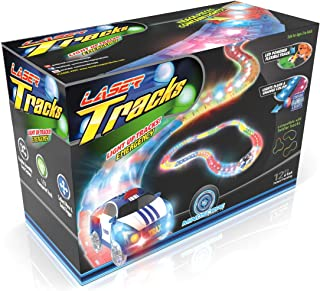 Mindscope LED Laser Tracks by Twister Tracks 12 Feet of Light Up Flexible Track + 1 Light Up Police Car Each Individual Track Piece Contains Lights