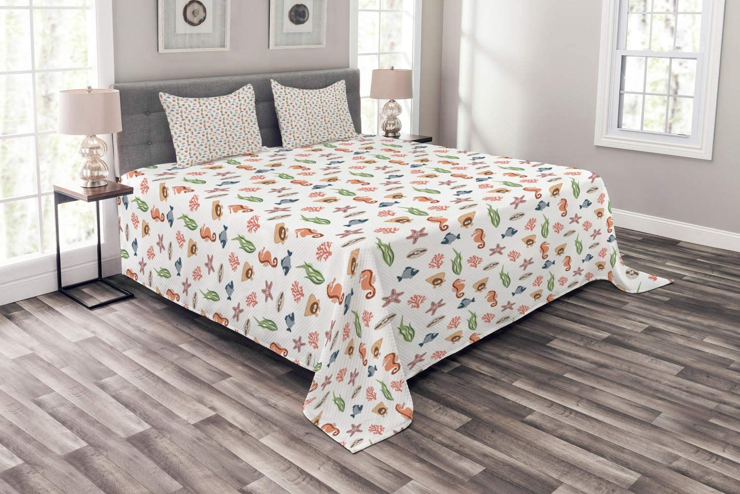Ambesonne Sea Life Max 48% OFF Bedspread Various and Colorful Animer price revision Creatures
