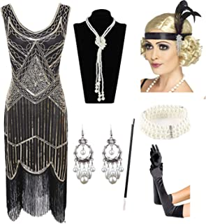 9af58a004cf 1920s Gatsby Sequin Fringed Paisley Flapper Dress with 20s Accessories Set