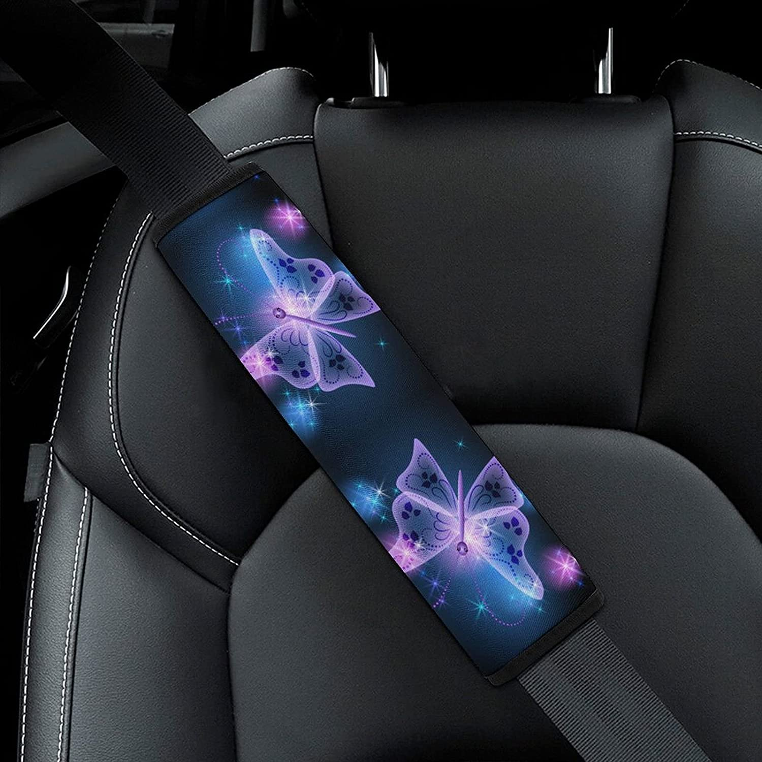 Purple Bling Butterfly Pattern Car Seat New sales Belt Cover Pad Adult OFFicial for