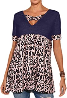 WSPLYSPJY Womens T Shirt Leopard Color Block Splicing Tops Short Sleeve Casual Cross V Neck Top
